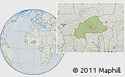 Savanna Style Location Map of Burkina Faso, lighten, semi-desaturated