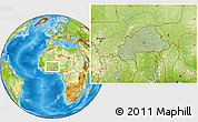 Savanna Style Location Map of Burkina Faso, physical outside