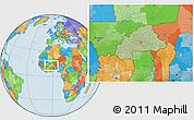 Savanna Style Location Map of Burkina Faso, political outside