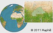 Savanna Style Location Map of Burkina Faso, satellite outside