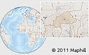 Shaded Relief Location Map of Burkina Faso, lighten