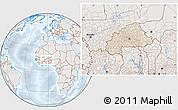 Shaded Relief Location Map of Burkina Faso, lighten, semi-desaturated