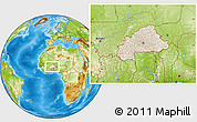 Shaded Relief Location Map of Burkina Faso, physical outside