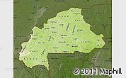 Physical Map of Burkina Faso, darken