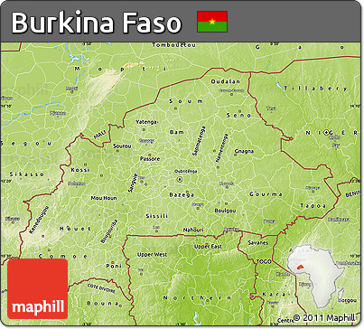 Free Physical Map of Burkina Faso
