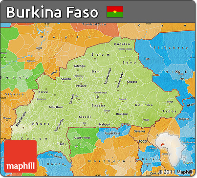 Free Physical Map of Burkina Faso political outside