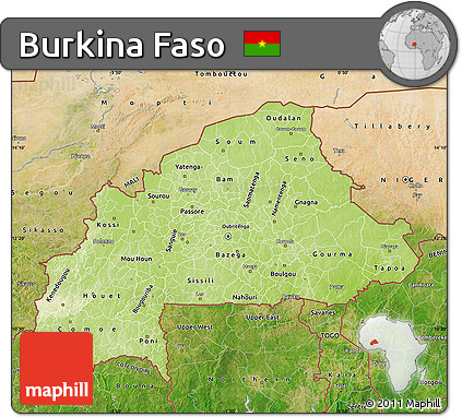 Free Physical Map of Burkina Faso satellite outside