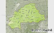 Physical Map of Burkina Faso, semi-desaturated