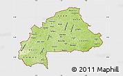 Physical Map of Burkina Faso, single color outside