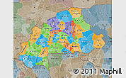 Political Map of Burkina Faso, semi-desaturated