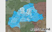 Political Shades Map of Burkina Faso, darken, semi-desaturated, land only