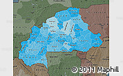 Political Shades Map of Burkina Faso, darken, semi-desaturated