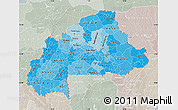 Political Shades Map of Burkina Faso, lighten, semi-desaturated