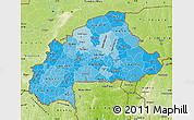 Political Shades Map of Burkina Faso, physical outside
