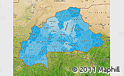 Political Shades Map of Burkina Faso, satellite outside, bathymetry sea