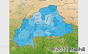 Political Shades Map of Burkina Faso, satellite outside