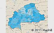 Political Shades Map of Burkina Faso, shaded relief outside