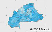 Political Shades Map of Burkina Faso, single color outside, bathymetry sea