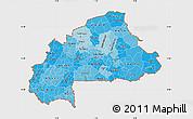 Political Shades Map of Burkina Faso, single color outside, shaded relief sea
