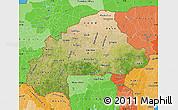 Satellite Map of Burkina Faso, political shades outside, satellite sea