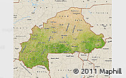 Satellite Map of Burkina Faso, shaded relief outside, satellite sea