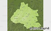 Physical 3D Map of Mou Houn, darken