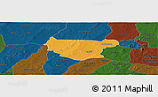 Political Panoramic Map of Bondokui, darken