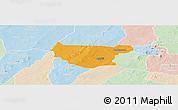 Political Panoramic Map of Bondokui, lighten
