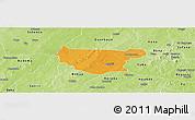 Political Panoramic Map of Bondokui, physical outside