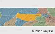 Political Panoramic Map of Bondokui, semi-desaturated