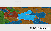 Political Panoramic Map of Boromo, darken