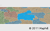 Political Panoramic Map of Boromo, semi-desaturated