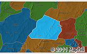 Political 3D Map of Ouarkoye, darken