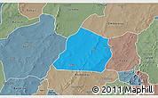 Political 3D Map of Ouarkoye, semi-desaturated