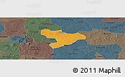 Political Panoramic Map of Oury, darken, semi-desaturated
