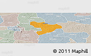 Political Panoramic Map of Oury, lighten, semi-desaturated