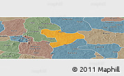 Political Panoramic Map of Oury, semi-desaturated