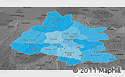 Political Shades Panoramic Map of Mou Houn, darken, desaturated