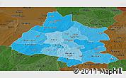 Political Shades Panoramic Map of Mou Houn, darken