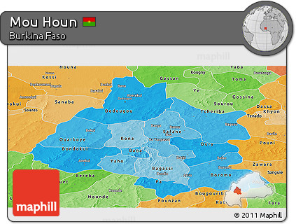 Political Shades Panoramic Map of Mou Houn