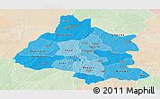 Political Shades Panoramic Map of Mou Houn, lighten