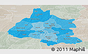 Political Shades Panoramic Map of Mou Houn, lighten, semi-desaturated