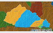Political 3D Map of Nahouri, darken