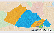 Political 3D Map of Nahouri, lighten