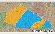 Political 3D Map of Nahouri, semi-desaturated