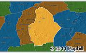 Political 3D Map of Bouroum, darken