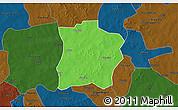 Political 3D Map of Tougouri, darken