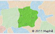 Political 3D Map of Tougouri, lighten