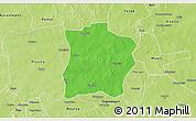 Political 3D Map of Tougouri, physical outside