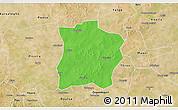 Political 3D Map of Tougouri, satellite outside